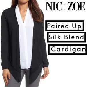 NIC+ZOE Paired Up Silk Blend Long Sl Open Cardigan